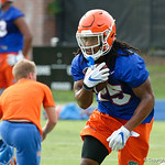Florida Gators running back Jordan Scarlett as the Gators run through practice drills during the Gators second fall practice of the 2017 season.  August 4th, 2017.  Gator Country photo by David Bowie.