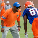 Florida Gators Assistant Coach, Wide Receivers Coach Kerry Dixon working with Florida Gators wide receiver Antonio Callaway as the Gators run through practice drills during the Gators second fall practice of the 2017 season.  August 4th, 2017.  Gator Country photo by David Bowie.