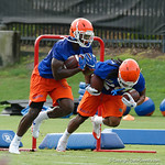 Florida Gators running back Mark Thompson and Florida Gators running back Jordan Scarlett as the Gators run through practice drills during the Gators second fall practice of the 2017 season.  August 4th, 2017.  Gator Country photo by David Bowie.