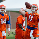 Florida Gators quarterback Kyle Trask throwing as the Gators run through practice drills during the Gators second fall practice of the 2017 season.  August 4th, 2017.  Gator Country photo by David Bowie.