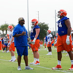 Florida Gators offensive lineman Fred Johnson being coached up by Florida Gators offensive line coach Brad Davis, as the Gators run through practice drills during the Gators second fall practice of the 2017 season.  August 4th, 2017.  Gator Country photo by David Bowie.