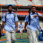 The Florida Gaors walk into and across Steve Spurrier Field at  Ben Hill Griffin Stadium during Gator Walk for a date with SEC East rival, the Tennessee Volunteers.  October 7th, 2017.  Gator Country photo by David Bowie.