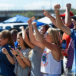 Florida Gators fans cheer on as the Gators walk into EverBank Field for an SEC rivalry game against the University of Georgia Bulldogs in Jacksonville, Florida.  October 28th, 2017.  Gator Country photo by David Bowie.