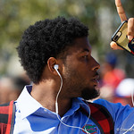 University of Florida Gators running back Lamical Perine as the Gators walk into EverBank Field for an SEC rivalry game against the University of Georgia Bulldogs in Jacksonville, Florida.  October 28th, 2017.  Gator Country photo by David Bowie.