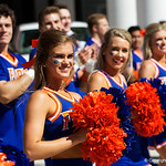The Florida Cheereaders cheer on as the Gators walk into EverBank Field for an SEC rivalry game against the University of Georgia Bulldogs in Jacksonville, Florida.  October 28th, 2017.  Gator Country photo by David Bowie.