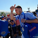 University of Florida Gators kicker Eddy Pineiro as the Gators walk into EverBank Field for an SEC rivalry game against the University of Georgia Bulldogs in Jacksonville, Florida.  October 28th, 2017.  Gator Country photo by David Bowie.