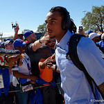 University of Florida Gators wide receiver Tyrie Cleveland as the Gators walk into EverBank Field for an SEC rivalry game against the University of Georgia Bulldogs in Jacksonville, Florida.  October 28th, 2017.  Gator Country photo by David Bowie.