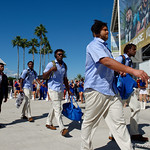 The Florida Gators football team as the Gators walk into EverBank Field for an SEC rivalry game against the University of Georgia Bulldogs in Jacksonville, Florida.  October 28th, 2017.  Gator Country photo by David Bowie.