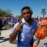 University of Florida Gators defensive back Chauncey Gardner, Jr. carryin the chucky doll as the Gators walk into EverBank Field for an SEC rivalry game against the University of Georgia Bulldogs in Jacksonville, Florida.  October 28th, 2017.  Gator Country photo by David Bowie.