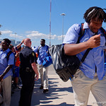 University of Florida Gators offensive lineman Fred Johnson as the Gators walk into EverBank Field for an SEC rivalry game against the University of Georgia Bulldogs in Jacksonville, Florida.  October 28th, 2017.  Gator Country photo by David Bowie.