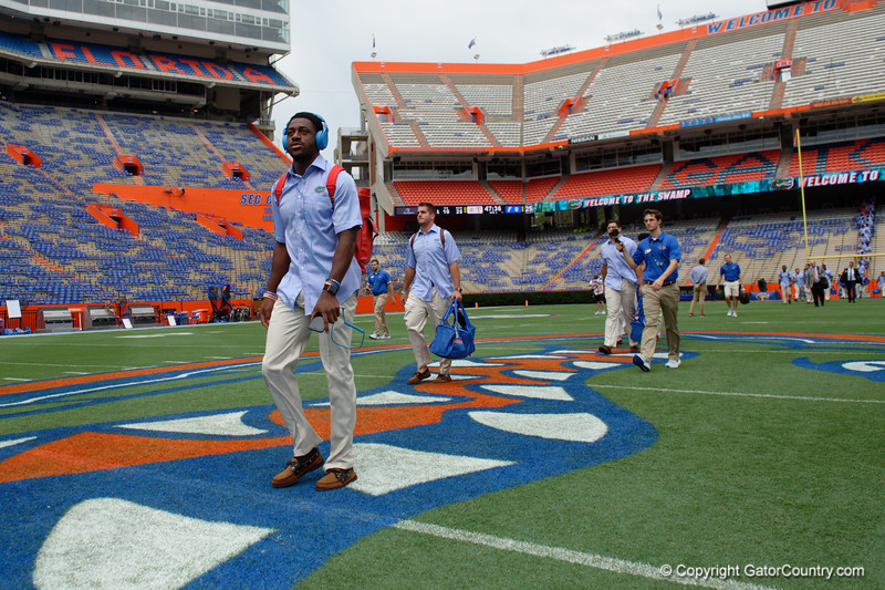 University of Florida Gators wide receiver Josh Hammond as the Gators walk into and across Steve Suprrier Field at  Ben Hill Griffin Stadium during Gator Walk for a date with SEC East rival, the Tennessee Volunteers.  September 16th, 2017.  Gator Country photo by David Bowie.