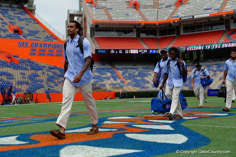 University of Florida Gators wide receiver Tyrie Cleveland as the Gators walk into and across Steve Suprrier Field at  Ben Hill Griffin Stadium during Gator Walk for a date with SEC East rival, the Tennessee Volunteers.  September 16th, 2017.  Gator Country photo by David Bowie.