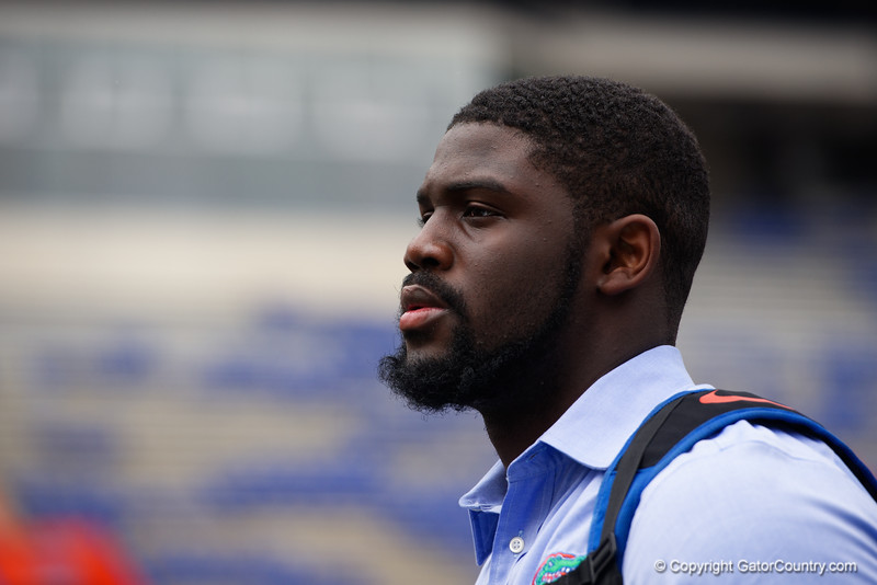 University of Florida Gators defensive end Antonneous Clayton as the Gators walk into and across Steve Suprrier Field at  Ben Hill Griffin Stadium during Gator Walk for a date with SEC East rival, the Tennessee Volunteers.  September 16th, 2017.  Gator Country photo by David Bowie.