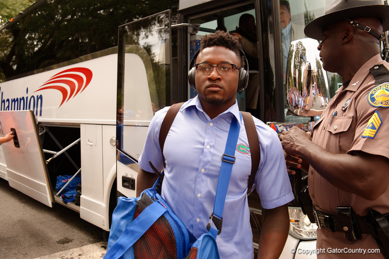 University of Florida Gators defensive back Duke Dawson as the Gators walk into and across Steve Suprrier Field at  Ben Hill Griffin Stadium during Gator Walk for a date with SEC East rival, the Tennessee Volunteers.  September 16th, 2017.  Gator Country photo by David Bowie.