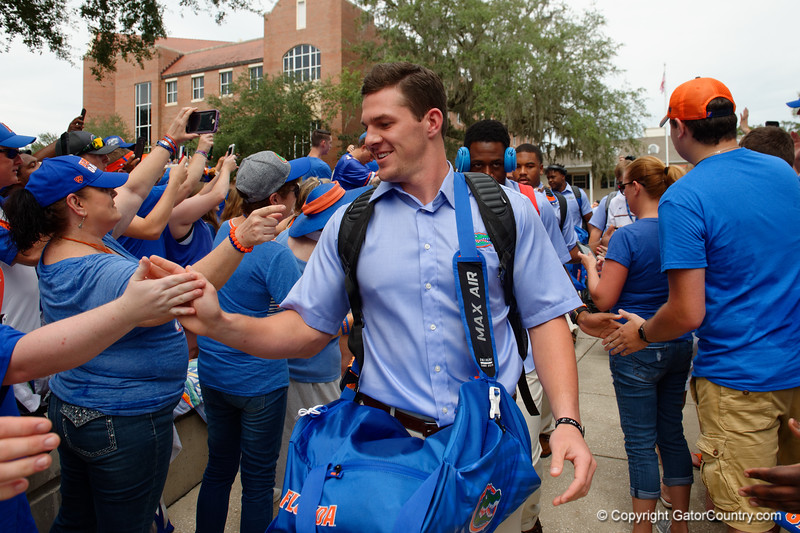 University of Florida Gators punter Johnny Townsend as the Gators walk into and across Steve Suprrier Field at  Ben Hill Griffin Stadium during Gator Walk for a date with SEC East rival, the Tennessee Volunteers.  September 16th, 2017.  Gator Country photo by David Bowie.