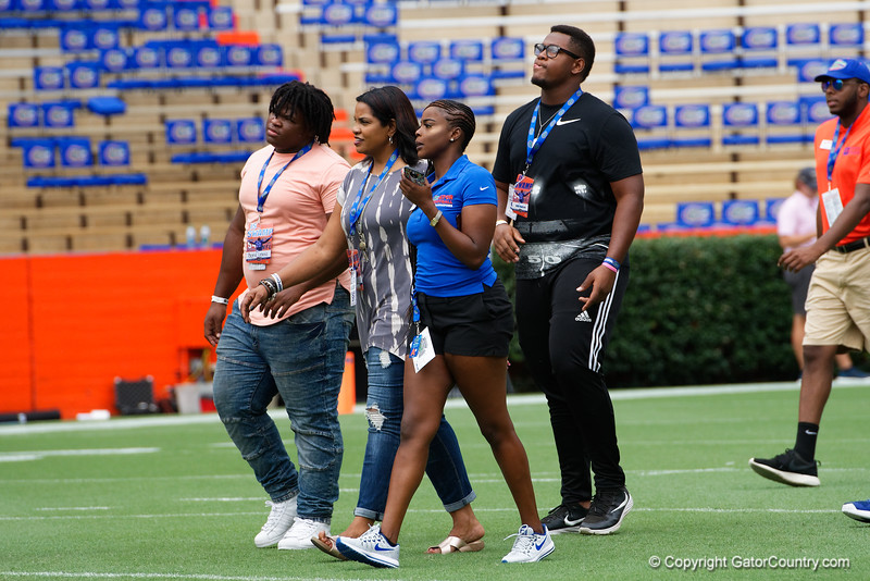 Florida Gators football recruits as the Gators walk into and across Steve Suprrier Field at  Ben Hill Griffin Stadium during Gator Walk for a date with SEC East rival, the Tennessee Volunteers.  September 16th, 2017.  Gator Country photo by David Bowie.