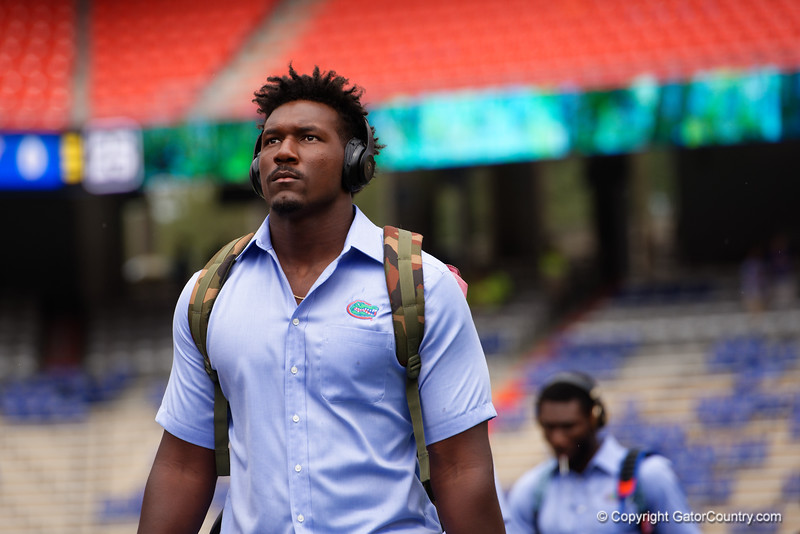 University of Florida Gators defensive end Zachary Carter as the Gators walk into and across Steve Suprrier Field at  Ben Hill Griffin Stadium during Gator Walk for a date with SEC East rival, the Tennessee Volunteers.  September 16th, 2017.  Gator Country photo by David Bowie.