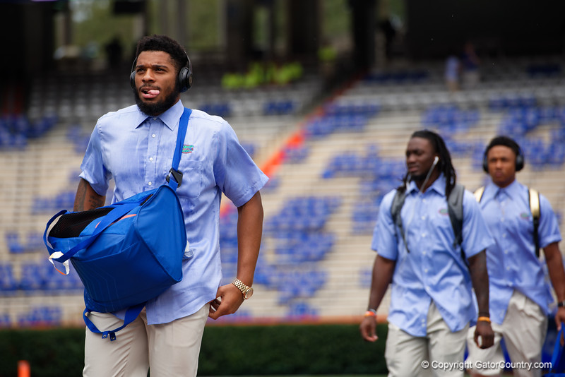 University of Florida Gators defensive lineman Cece Jefferson as the Gators walk into and across Steve Suprrier Field at  Ben Hill Griffin Stadium during Gator Walk for a date with SEC East rival, the Tennessee Volunteers.  September 16th, 2017.  Gator Country photo by David Bowie.