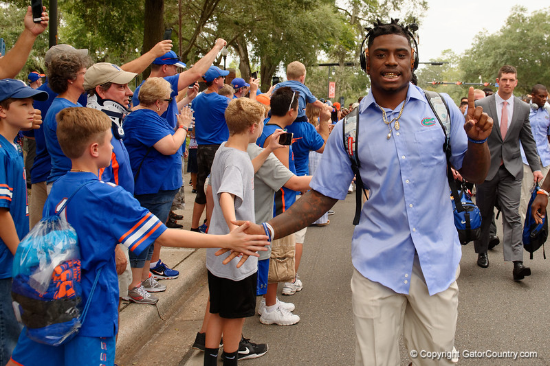 University of Florida Gators defensive back Chauncey Gardner, Jr. as the Gators walk into and across Steve Suprrier Field at  Ben Hill Griffin Stadium during Gator Walk for a date with SEC East rival, the Tennessee Volunteers.  September 16th, 2017.  Gator Country photo by David Bowie.