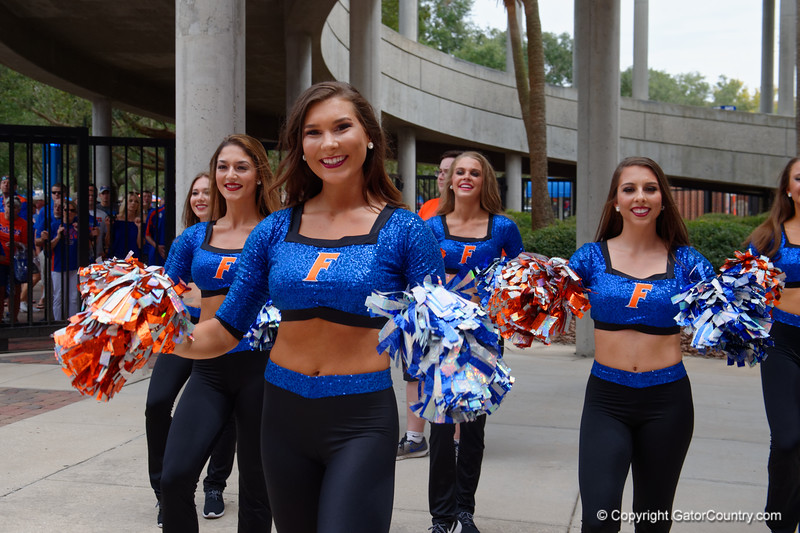 The Florida Gator Dazzlers as the Gators walk into and across Steve Suprrier Field at  Ben Hill Griffin Stadium during Gator Walk for a date with SEC East rival, the Tennessee Volunteers.  September 16th, 2017.  Gator Country photo by David Bowie.