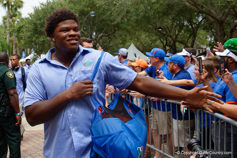 University of Florida Gators offensive lineman Fred Johnson as the Gators walk into and across Steve Suprrier Field at  Ben Hill Griffin Stadium during Gator Walk for a date with SEC East rival, the Tennessee Volunteers.  September 16th, 2017.  Gator Country photo by David Bowie.