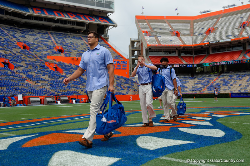 University of Florida Gators defensive lineman Jordan Sherit as the Gators walk into and across Steve Suprrier Field at  Ben Hill Griffin Stadium during Gator Walk for a date with SEC East rival, the Tennessee Volunteers.  September 16th, 2017.  Gator Country photo by David Bowie.