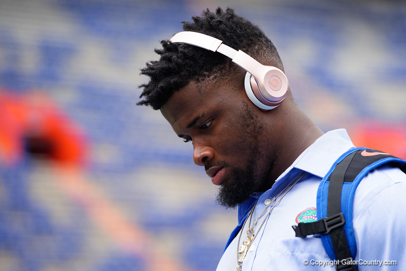 University of Florida Gators tight end Kemore Gamble as the Gators walk into and across Steve Suprrier Field at  Ben Hill Griffin Stadium during Gator Walk for a date with SEC East rival, the Tennessee Volunteers.  September 16th, 2017.  Gator Country photo by David Bowie.