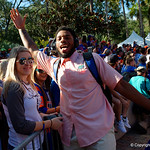 University of Florida Gators defensive lineman Cece Jefferson as the Gators walk into and across Steve Suprrier Field at  Ben Hill Griffin Stadium during Gator Walk for a game against the Texas A&M Aggies.  October 14th, 2017.  Gator Country photo by David Bowie.