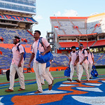 University of Florida Gators linebacker Kylan Johnson and University of Florida Gators linebacker Rayshad Jackson as the Gators walk into and across Steve Suprrier Field at  Ben Hill Griffin Stadium during Gator Walk for a game against the Texas A&M Aggies.  October 14th, 2017.  Gator Country photo by David Bowie.