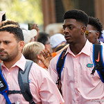 University of Florida Gators linebacker Jeremiah Moon as the Gators walk into and across Steve Suprrier Field at  Ben Hill Griffin Stadium during Gator Walk for a game against the Texas A&M Aggies.  October 14th, 2017.  Gator Country photo by David Bowie.