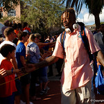 University of Florida Gators athlete Kadarius Toney as the Gators walk into and across Steve Suprrier Field at  Ben Hill Griffin Stadium during Gator Walk for a game against the Texas A&M Aggies.  October 14th, 2017.  Gator Country photo by David Bowie.