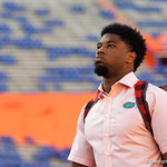 University of Florida Gators running back Lamical Perine as the Gators walk into and across Steve Suprrier Field at  Ben Hill Griffin Stadium during Gator Walk for a game against the Texas A&M Aggies.  October 14th, 2017.  Gator Country photo by David Bowie.