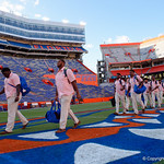 University of Florida Gators offensive lineman Antonio Riles as the Gators walk into and across Steve Suprrier Field at  Ben Hill Griffin Stadium during Gator Walk for a game against the Texas A&M Aggies.  October 14th, 2017.  Gator Country photo by David Bowie.