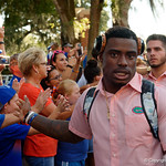 University of Florida Gators defensive back Chauncey Gardner, Jr.as the Gators walk into and across Steve Suprrier Field at  Ben Hill Griffin Stadium during Gator Walk for a game against the Texas A&M Aggies.  October 14th, 2017.  Gator Country photo by David Bowie.