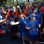 Fans cheer on as the Gators walk into and across Steve Suprrier Field at  Ben Hill Griffin Stadium during Gator Walk for a game against the Texas A&M Aggies.  October 14th, 2017.  Gator Country photo by David Bowie.