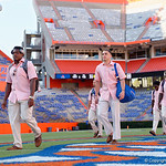 University of Florida Gators kicker Eddy Pineiro as the Gators walk into and across Steve Suprrier Field at  Ben Hill Griffin Stadium during Gator Walk for a game against the Texas A&M Aggies.  October 14th, 2017.  Gator Country photo by David Bowie.
