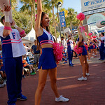 The Florida Gators cheerleaders cheer on as the Gators walk into and across Steve Suprrier Field at  Ben Hill Griffin Stadium during Gator Walk for a game against the Texas A&M Aggies.  October 14th, 2017.  Gator Country photo by David Bowie.