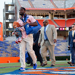 University of Florida Gators defensive end Antonneous Clayton with the Chucky Doll as the Gators walk into and across Steve Suprrier Field at  Ben Hill Griffin Stadium during Gator Walk for a game against the Texas A&M Aggies.  October 14th, 2017.  Gator Country photo by David Bowie.