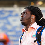 University of Florida Gators defensive back Shawn Davis as the Gators walk into and across Steve Suprrier Field at  Ben Hill Griffin Stadium during Gator Walk for a game against the Texas A&M Aggies.  October 14th, 2017.  Gator Country photo by David Bowie.