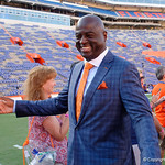 University of Florida Gators defensive line coach Chris Rumph as the Gators walk into and across Steve Suprrier Field at  Ben Hill Griffin Stadium during Gator Walk for a game against the Texas A&M Aggies.  October 14th, 2017.  Gator Country photo by David Bowie.