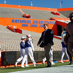 University of Florida Gators head coach Jim McElwain taking his pregame walk around the field as the Gators walk into and across Steve Suprrier Field at  Ben Hill Griffin Stadium during Gator Walk for a game against the Texas A&M Aggies.  October 14th, 2017.  Gator Country photo by David Bowie.