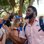 University of Florida Gators offensive lineman Martez Ivey as the Gators walk into and across Steve Suprrier Field at  Ben Hill Griffin Stadium during Gator Walk for a game against the Texas A&M Aggies.  October 14th, 2017.  Gator Country photo by David Bowie.