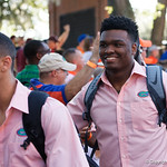 University of Florida Gators linebacker Kylan Johnsonas the Gators walk into and across Steve Suprrier Field at  Ben Hill Griffin Stadium during Gator Walk for a game against the Texas A&M Aggies.  October 14th, 2017.  Gator Country photo by David Bowie.