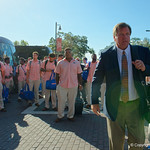 University of Florida Gators head coach Jim McElwain as the Gators walk into and across Steve Suprrier Field at  Ben Hill Griffin Stadium during Gator Walk for a game against the Texas A&M Aggies.  October 14th, 2017.  Gator Country photo by David Bowie.