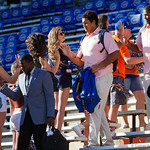 The Florida Gators Football team as the Gators walk into and across Steve Suprrier Field at  Ben Hill Griffin Stadium during Gator Walk for a game against the Texas A&M Aggies.  October 14th, 2017.  Gator Country photo by David Bowie.
