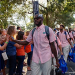 University of Florida Gators tight end C'yontai Lewis as the Gators walk into and across Steve Suprrier Field at  Ben Hill Griffin Stadium during Gator Walk for a game against the Texas A&M Aggies.  October 14th, 2017.  Gator Country photo by David Bowie.