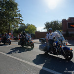 UFPD rides in front of the bus carrying the Gators as the Gators walk into and across Steve Suprrier Field at  Ben Hill Griffin Stadium during Gator Walk for a game against the Texas A&M Aggies.  October 14th, 2017.  Gator Country photo by David Bowie.
