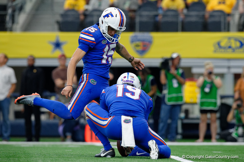University of Florida Gators kicker Eddy Pineiro kicking an extra point during the first half of the 2017 Advocare Classic at AT&T Stadium in Dallas, Texas as the Florida Gators take on the Michigan Wolverines. September 2nd, 2017.  Gator Country photo by David Bowie.