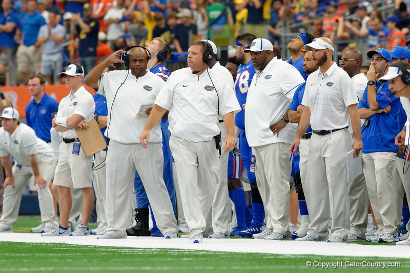 University of Florida Gators head coach Jim McElwain walking the sideline uring the first half of the 2017 Advocare Classic at AT&T Stadium in Dallas, Texas as the Florida Gators take on the Michigan Wolverines. September 2nd, 2017.  Gator Country photo by David Bowie.