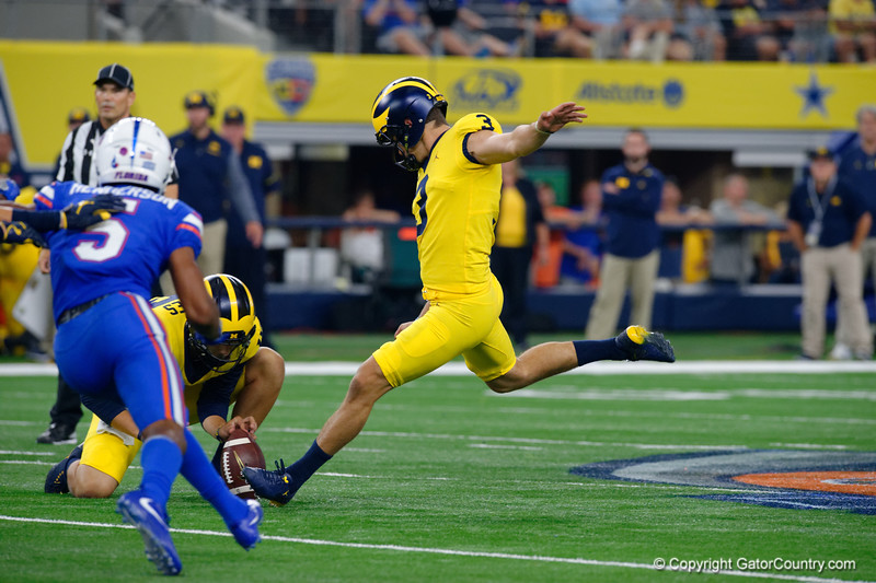 Michigan kicker Quinn Nordin kicks a field goal during the second half of the 2017 Advocare Classic at AT&T Stadium in Dallas, Texas as the Florida Gators take on the Michigan Wolverines. September 2nd, 2017.  Gator Country photo by David Bowie.